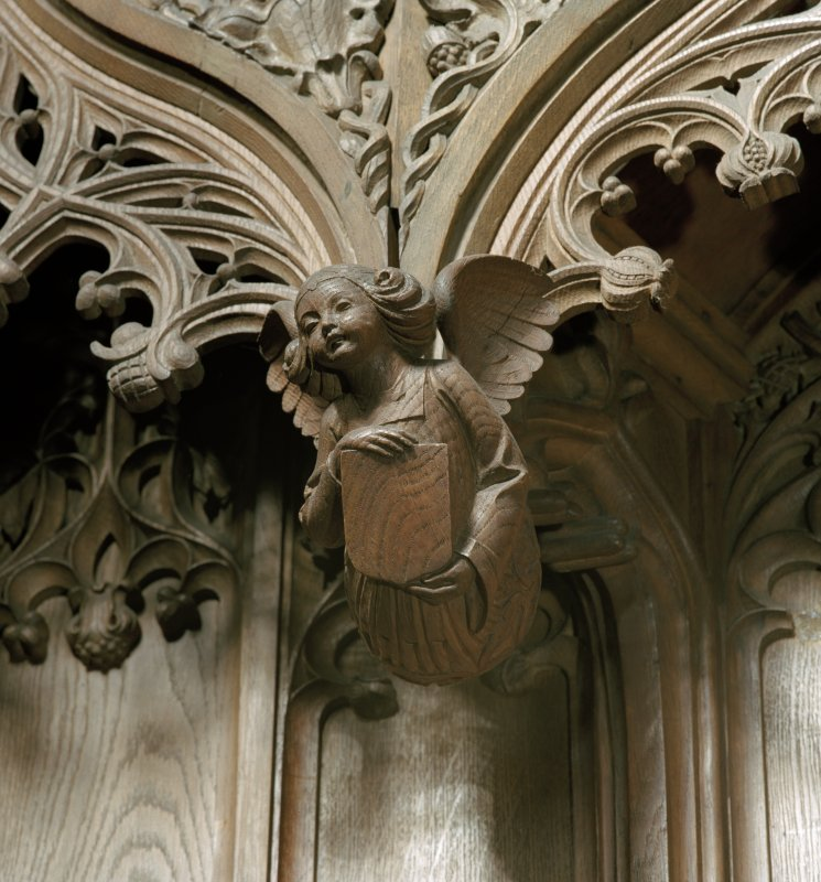 Thistle Chapel, interior, detail of carved angel above stalls.