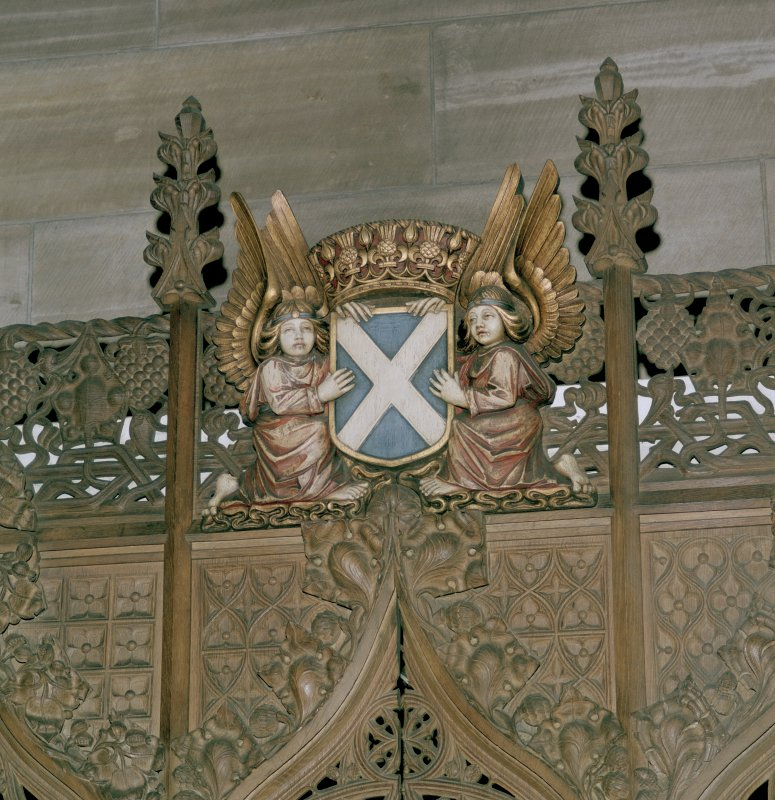 Thistle Chapel, interior, detail of angels holding shield of St Andrew.