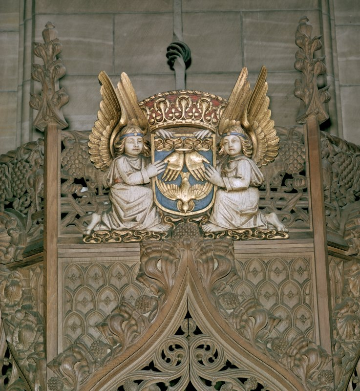 Thistle Chapel, interior detail of angel holding shield.