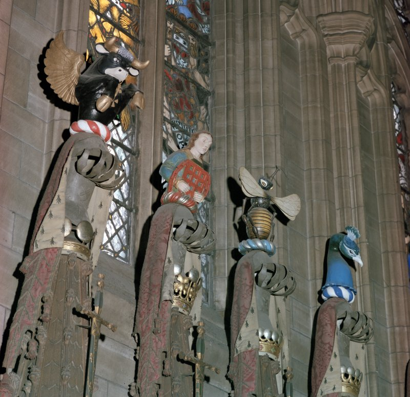Thistle Chapel, interior, view of crests.
