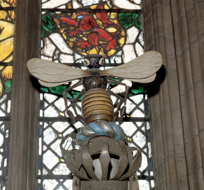 Thistle Chapel, interior, view of crest. St Giles Cathedral, High Street, Edinburgh.
