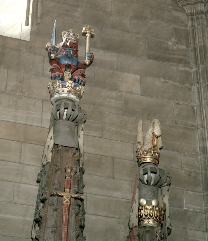Thistle Chapel, interior view of crests.