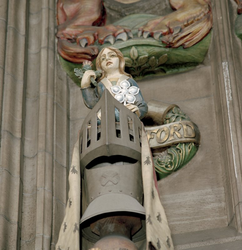 Thistle Chapel, interior, view of crest.