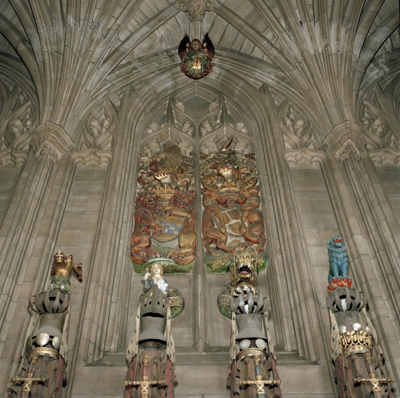 Thistle Chapel, interior, view of crests and armonial panels set in blind tracery.