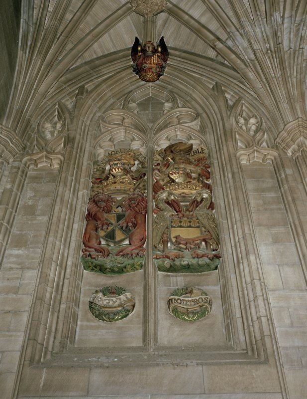 Thistle Chapel, interior, view of armorial panels set in blind tracery.