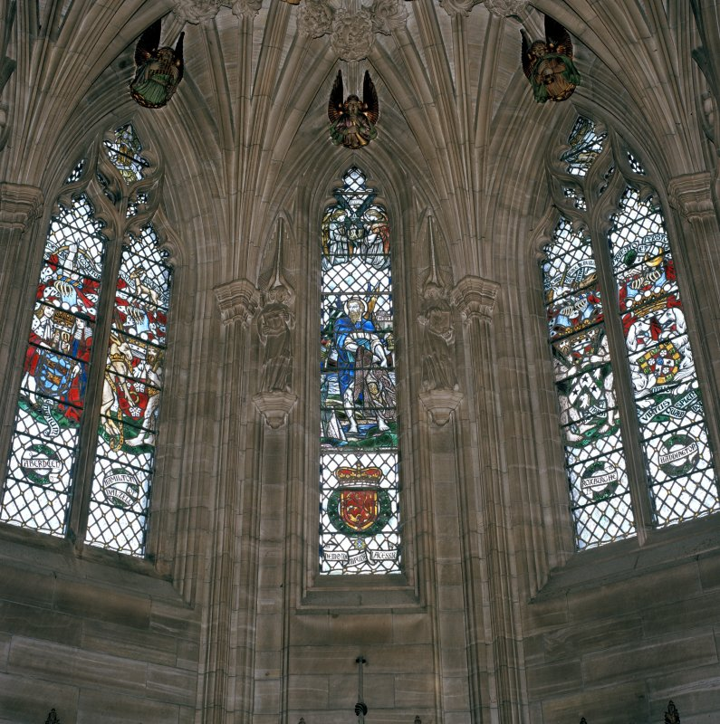Thistle Chapel, interior, view of stained glass windows at east end.