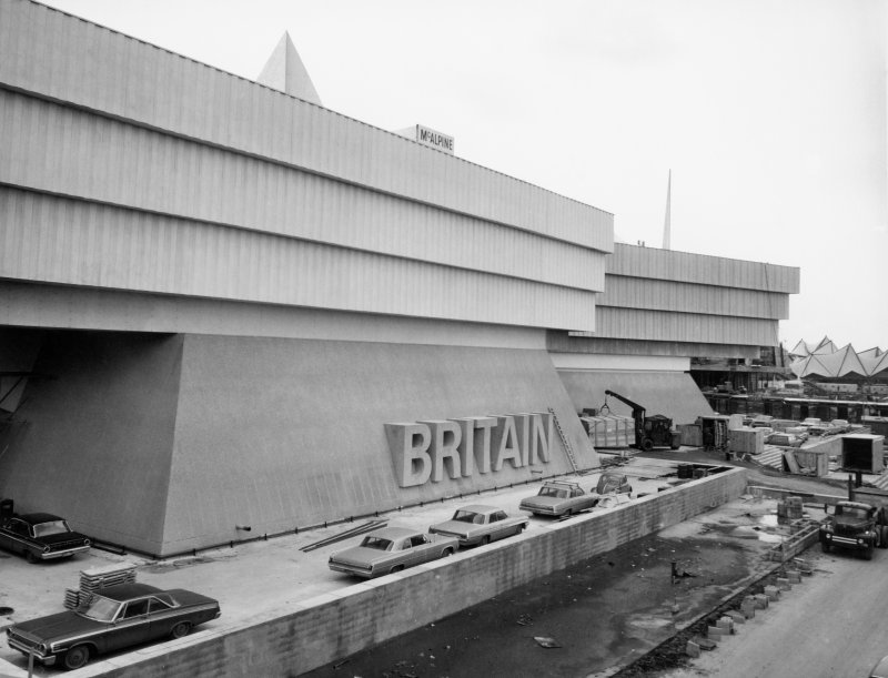 View of British Pavilion at Expo 67 under construction.