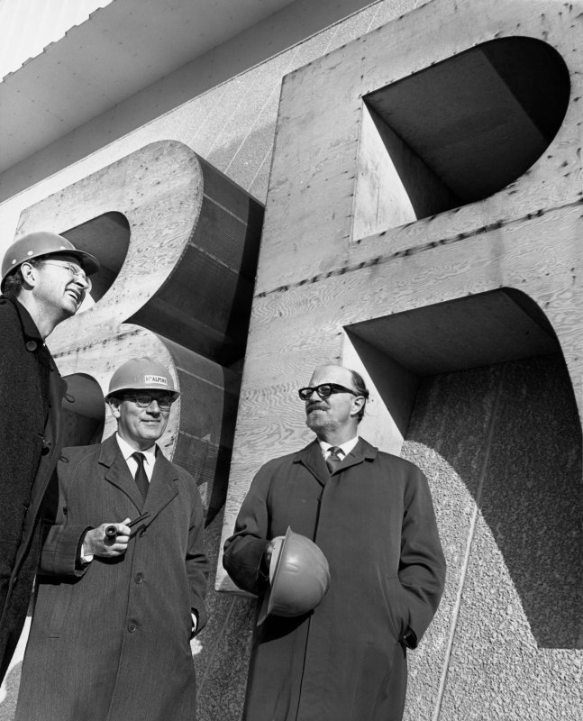 View of Sir Basil Spence inspecting the construction of the British Pavilion at Expo '67.