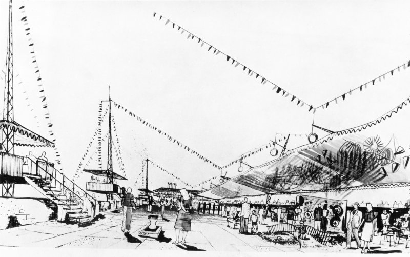 London, South Bank, Festival of Britain. Artist's impression of seaside section.