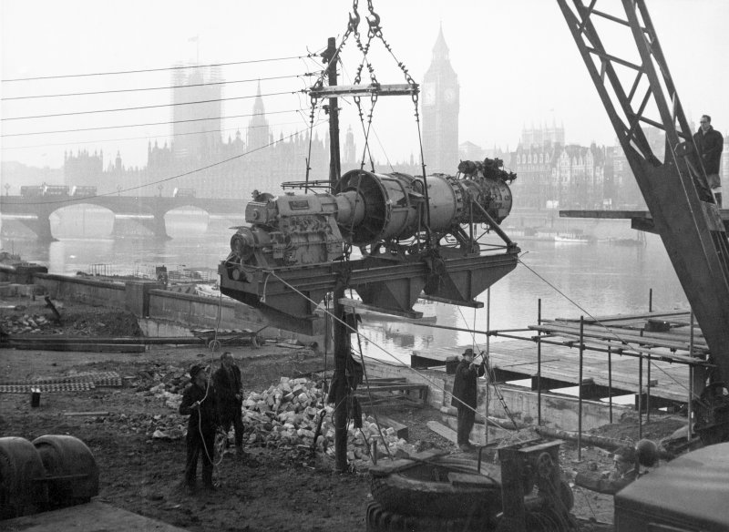 London, South Bank, Festival of Britain, Sea and Ships pavilion. View of Metro Vickers gas turbine engine being lowered into position.