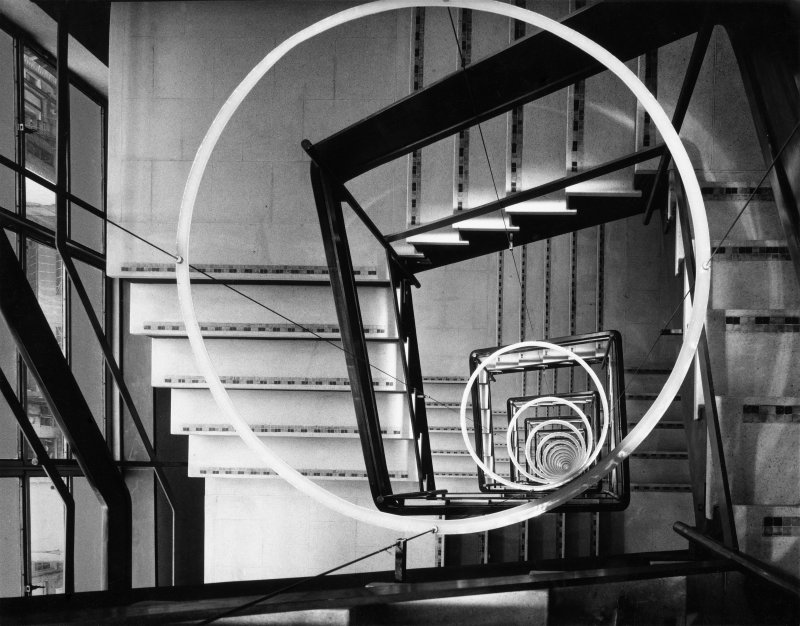 Interior view of stairs at Thorn House, headquarters of Thorn Electrical Industries, Camden, London.