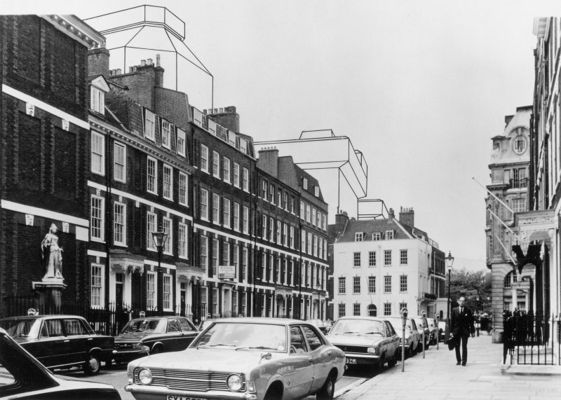 View of Queen Anne's Gate showing with montage of proposed development.