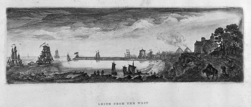 "Scanned image of photographic copy of sketch showing Leith from W showing the windmill/signal tower on The Shore and what may be Anchorfield House.. Title: ""Leith From the West""."