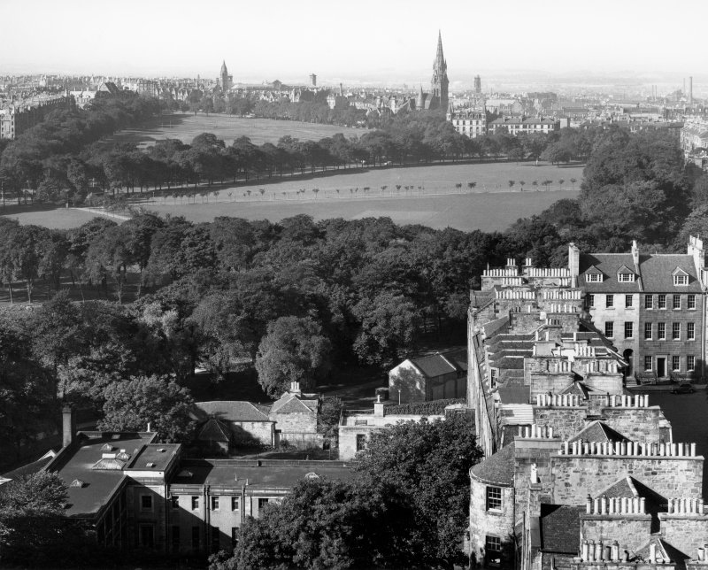 Photographic aerial view of part of George Square before redevelopment with Meadows and Bruntsfield in distance.