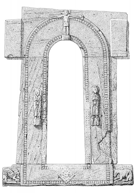 Scanned ink drawing of Round Tower Doorway, developed elevation.