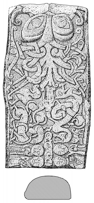 Scanned ink drawing of hogback or recumbent stone - developed view.