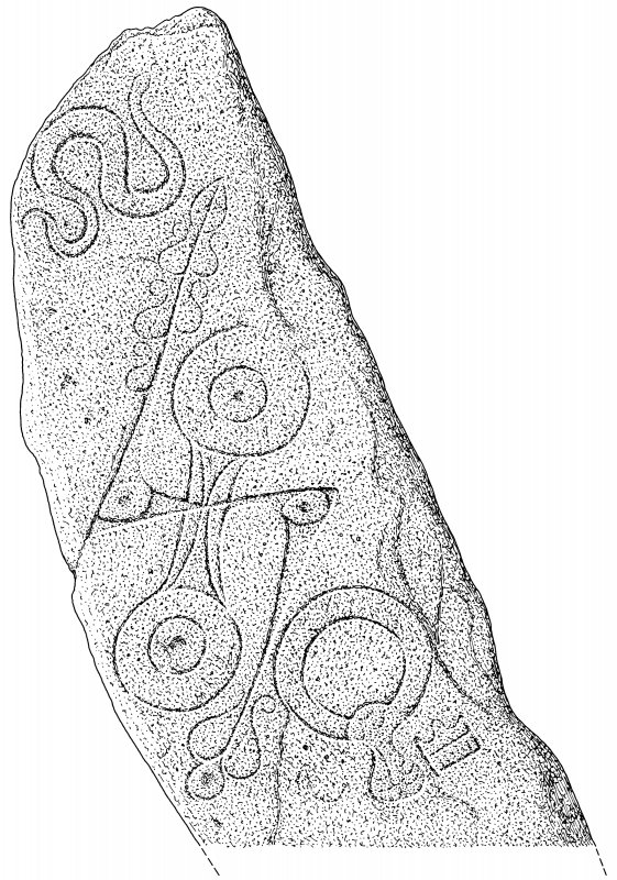 Scanned ink drawing of Aberlemno 1 Pictish Symbol Stone.