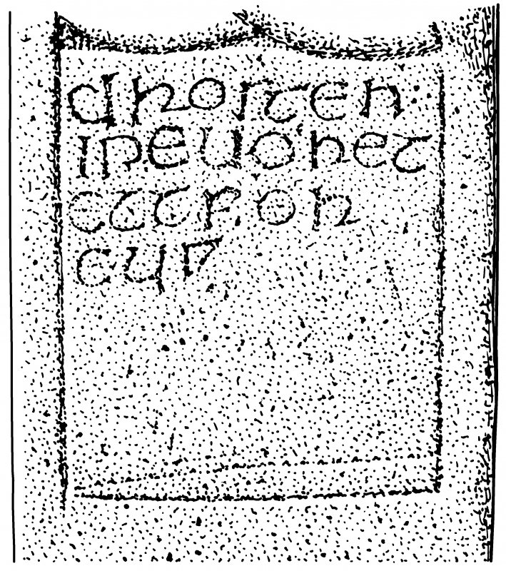Scanned ink drawing of inscription from side panel of the Drosden Stone Pictish cross-slab (St Vigeans no.1).