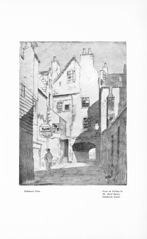 Illustration of Bakehouse Close from an etching by 'Mr. Basil Spence,  Edinburgh School'.