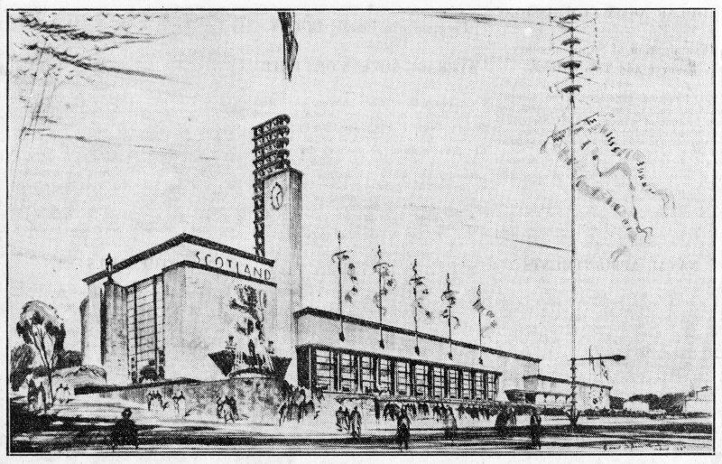 Empire Exhibition, 1938. Illustration of perspective of Scottish pavilion.