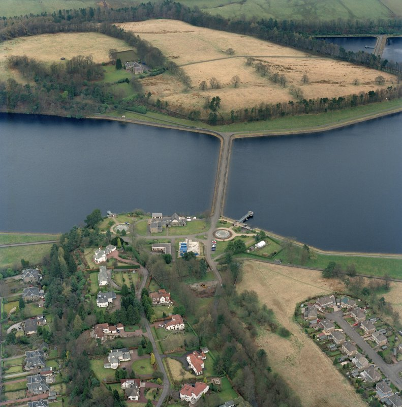 Scanned oblique aerial view of Mugdock (NS57NE.63) and Craigmaddie (NS57NE.61) Reservoirs