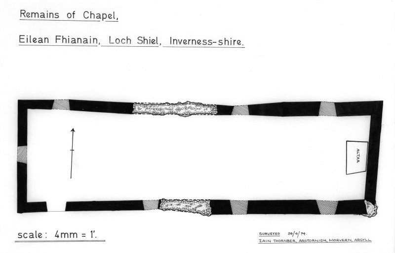 Plan of remains of chapel at St Finnan's. Digital image of photographic copy.