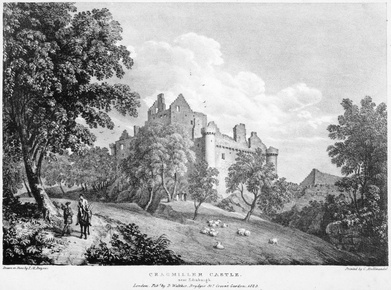 Engraving of view from South East, insc: 'Cragmillar Castle near Edinburgh.  Drawn on Stone by T.M.Baynes. Printed by C. Hullmandel. London. Published by D. Walther, Brydges St. Covent Garden. 1823'