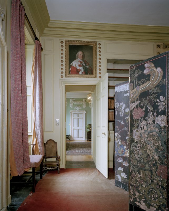 Interior. View from the E into the Entrance hall from the Chinese Drawing room.