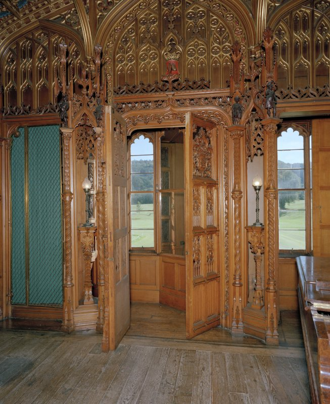 Taymouth Castle.  1st. floor, library, view of secret room at South end