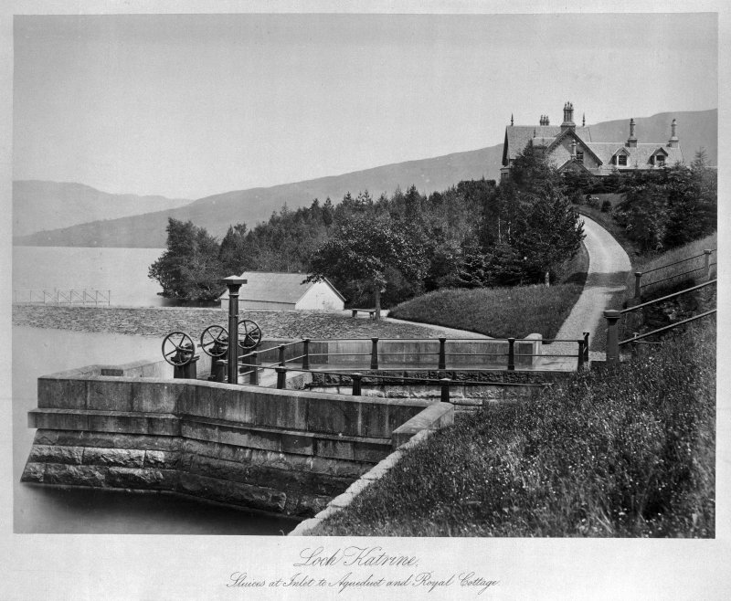 Copy of view of sluices at Loch Katrine, sluices at inlet to Aqueduct and Royal Cottage.