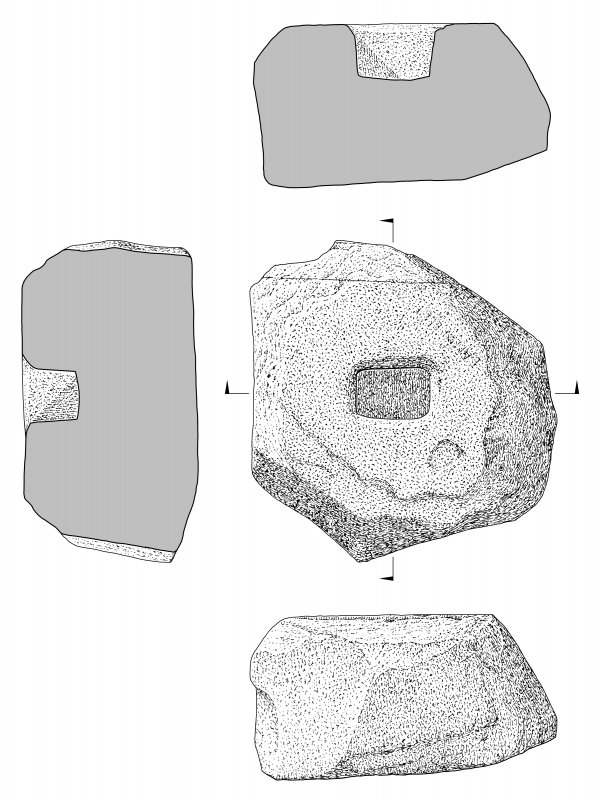 Scanned ink drawing of socket stone (plan, elevation, two sections).