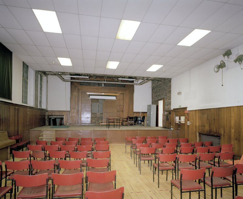 Scanned copy of photograph. Interior. Recreation Building, Gymnasium, looking S towards stage.