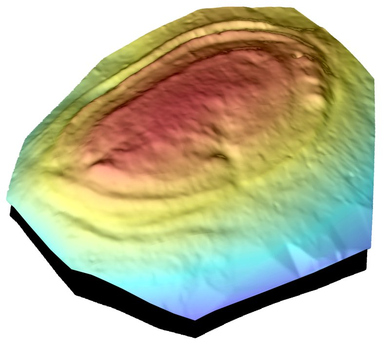 Screenshot of the digital terrain model (DTM) of Castlelaw Fort.