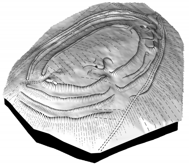 Screenshot taken from the 3D visualisation of Castlelaw Fort. Shows the digitised plane table drawing of the fort draped over the 3D topographic surface of the fort.