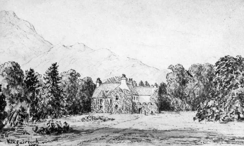 Photographic copy of pen and ink sketch showing house set in grounds, 1874