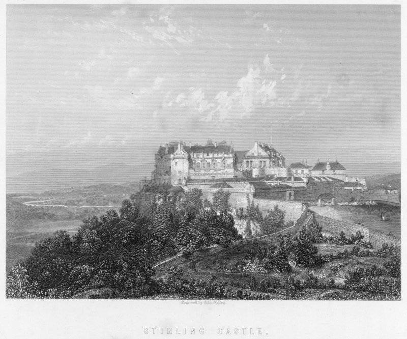 Stirling Castle, general Engraved view from South West Entitled: 'Stirling Castle', 'Engraved by John Godfrey' Not dated