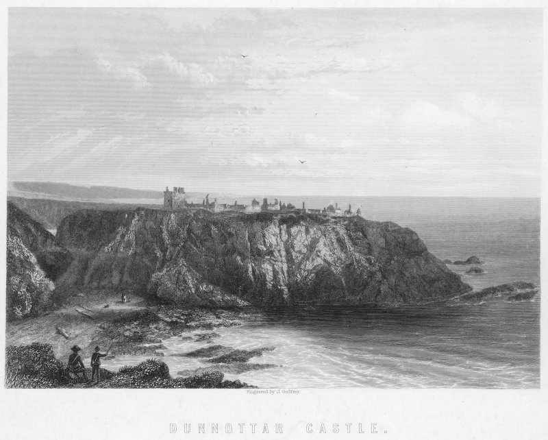 Engraved  view of Dunnottar Castle.