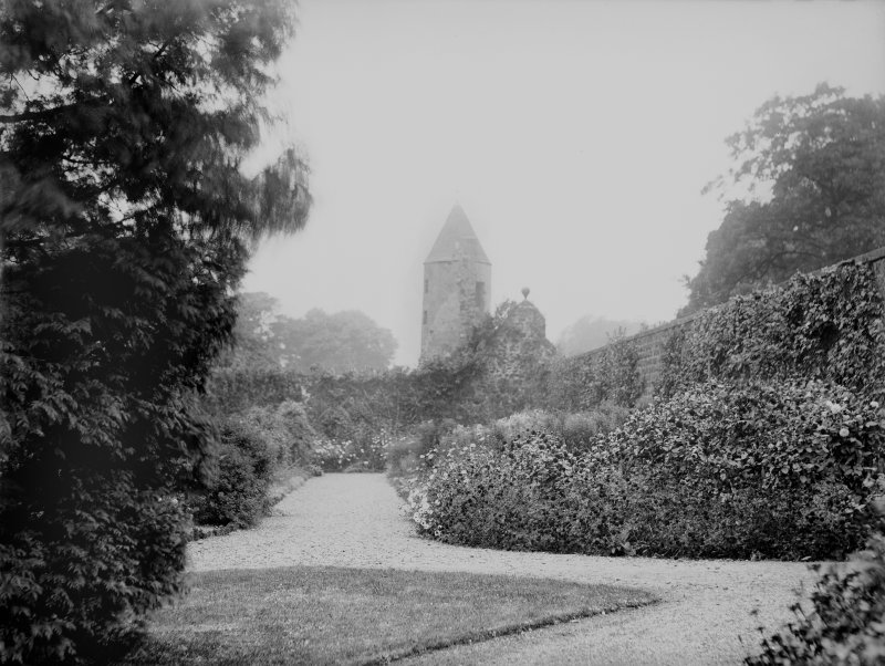 View of the gardens at Largo House, Upper Largo, showing Sir Andrew Wood's Tower in the background.