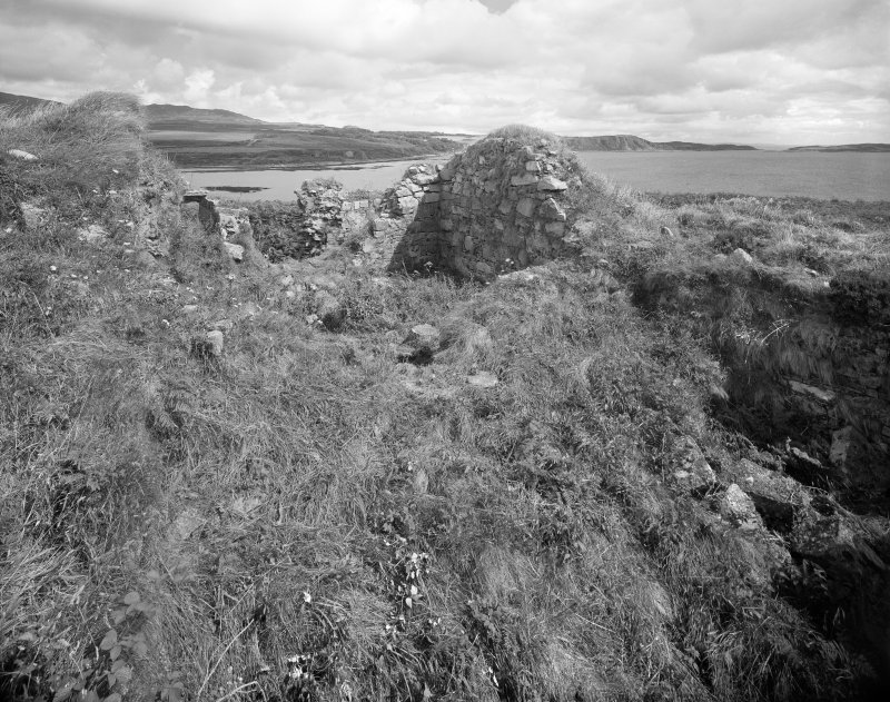 Jura, Claig Castle. General view from South-West showing ruined walls of interior.