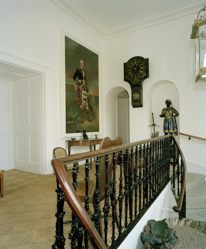 Interior, 1st floor, entrance staircase, view from west