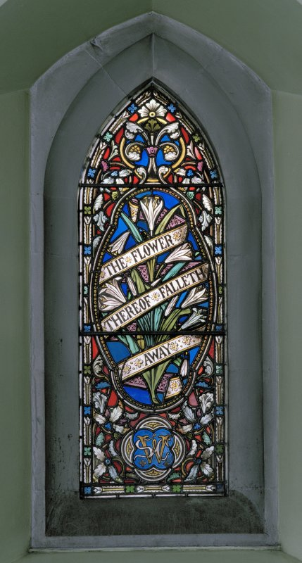 Interior of Lansdowne United Presbyterian Church, Glasgow.  Aisle stained glass window
