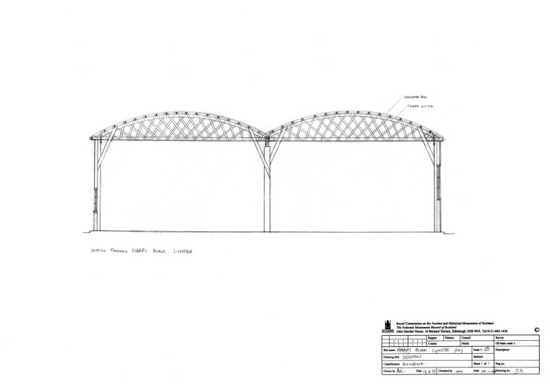 Scanned image of drawing showing section across Belfast Truss roof of NAAFI block at Lyness, Orkney.
