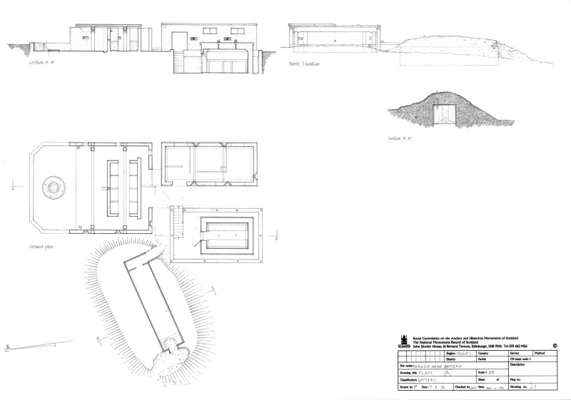 Scanned image of drawing showing plan, elevation and sections showing 6-inch gun emplacement, crew shelter and magazine. Section of air-raid shelter.