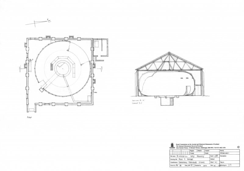 Scanned image of drawing showing plan and section of domed air gunery training building.