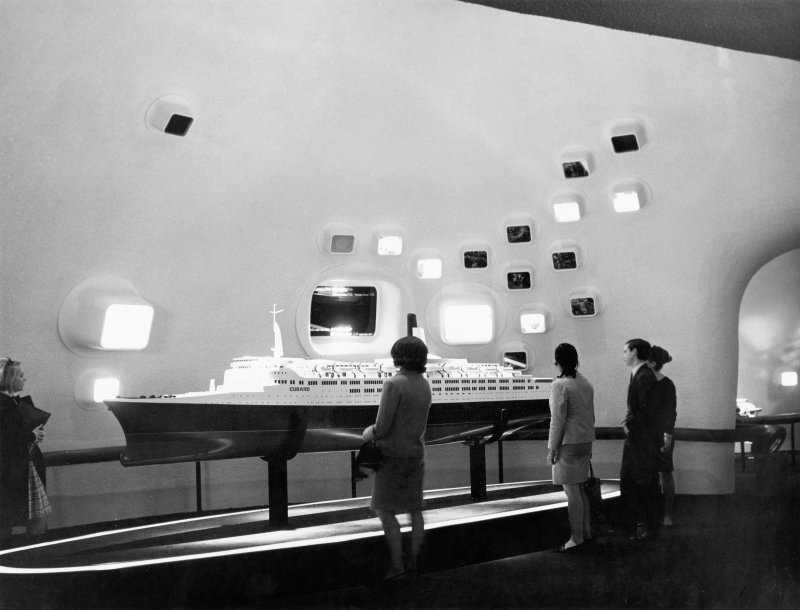 IInterior. Detail of the Q.4 liner model on display in the British Industry section of the British Pavilion at Expo 67.