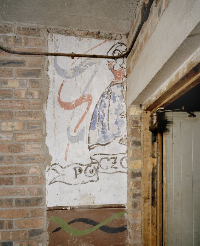 Interior. 1st floor. Fire escape stair with 2nd world war paintings/graffiti
