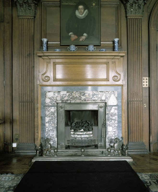 Interior.  Ground floor, oak-room, detail of fireplace