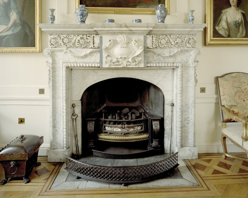 Interior.  Ground floor, dining-room, detail of fireplace