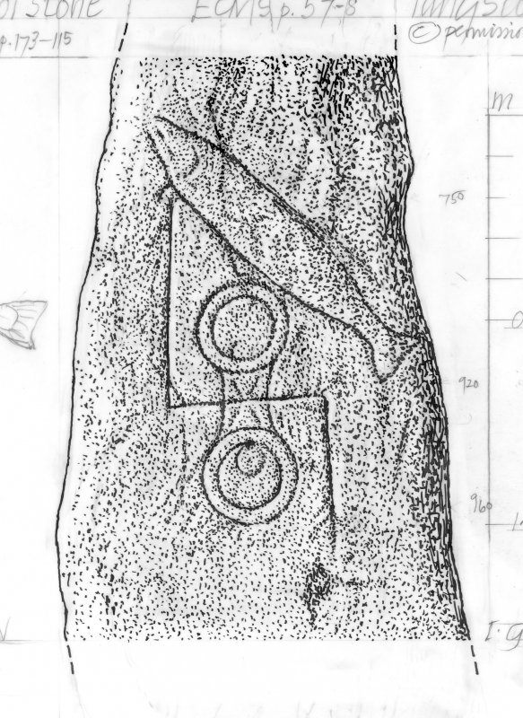 Digital copy of measured drawing showing detail of the symbols on the 'Clach Biorach' symbol stone, Edderton.