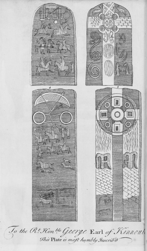 Engraving of the Aberlemno Roadside and Kirkyard Pictish cross-slabs. Plate from Alexander Gordon's Itinerarium Septentrionale.